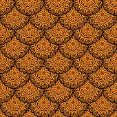 Vector Seamless Orange Floral Mandala Pattern.