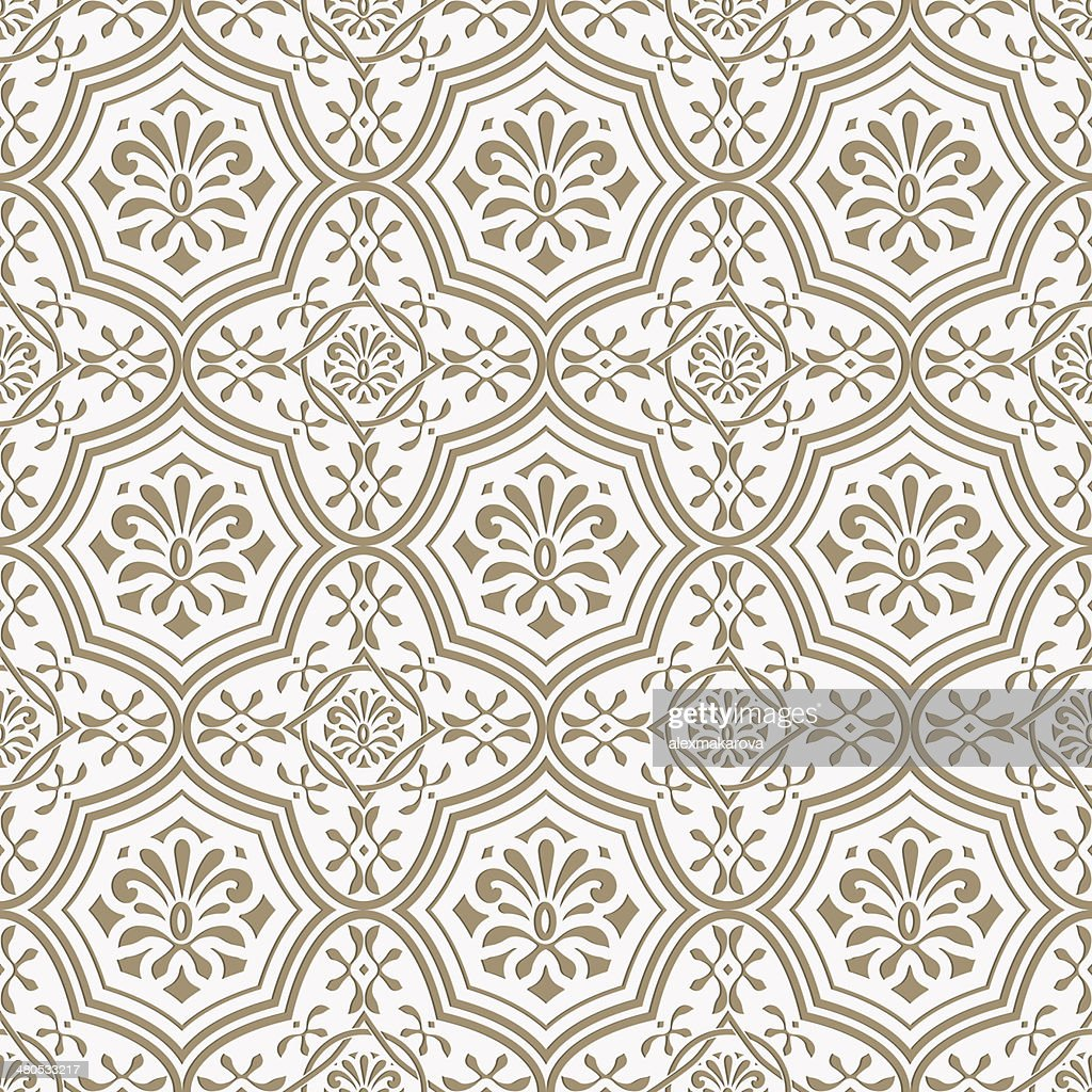Vector seamless paper cut  floral pattern, indian style : Vektorgrafik