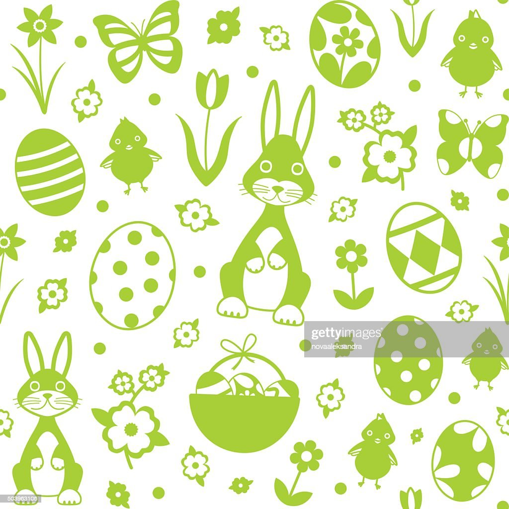 Vector seamless pattern background with easter related symbols