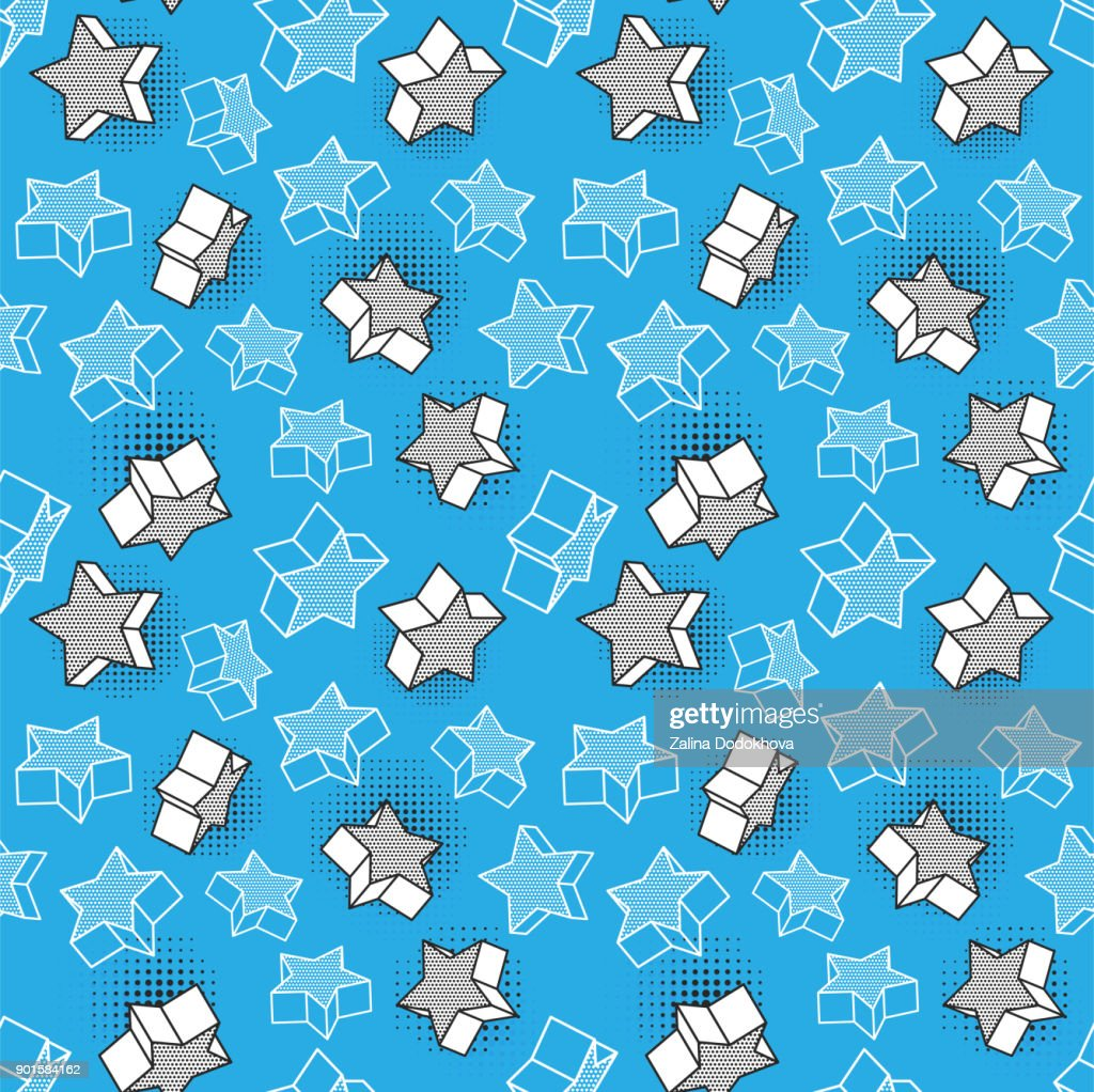 Vector seamless pattern, colorful pattern with 3d graphic elements. You can use this as a wallpaper in a childrens room