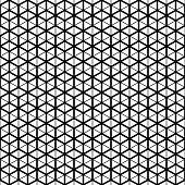 Vector seamless pattern. Cube grid texture. Black-and-white background. Monochrome line design.