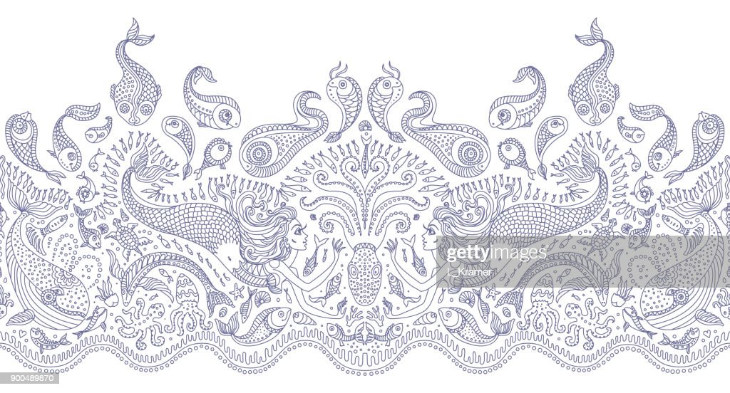 Vector seamless pattern. Fantasy mermaid, octopus, fish, sea animals blue contour thin line drawing with ornaments on a white background. Coloring book page for adults and children. Embroidery border, wallpaper, textile print, wrapping paper