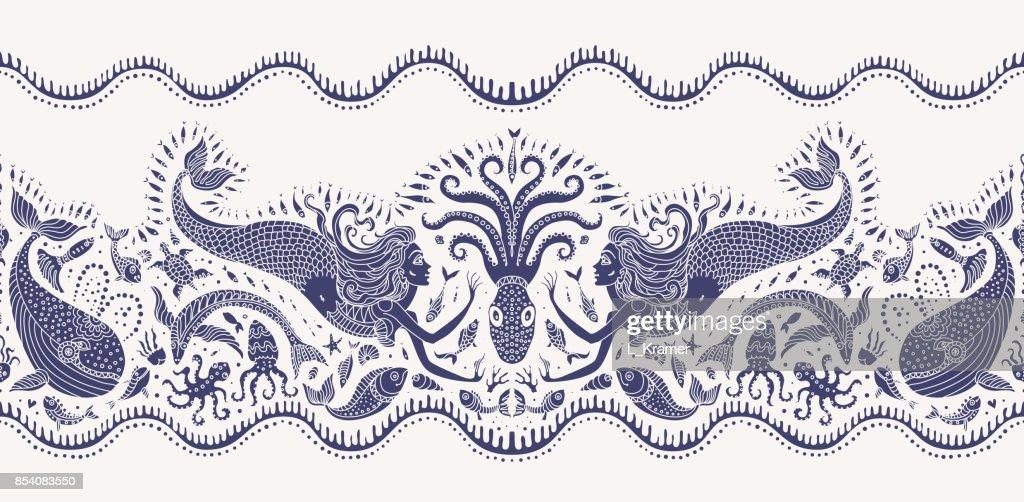 Vector seamless pattern. Fantasy mermaid, octopus, fish, sea animals dark indigo blue silhouette with ornaments on a beige background. Batik border, wallpaper fridge, textile print, wrapping paper