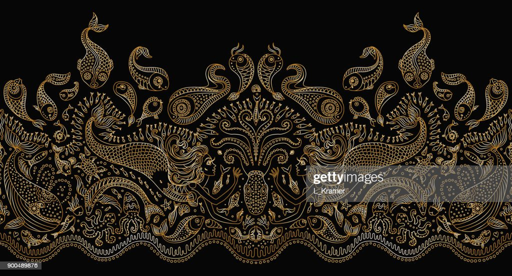 Vector seamless pattern. Fantasy mermaid, octopus, fish, sea animals golden contour thin line drawing with ornaments on a black background. Embroidery border, wallpaper fringe, textile print, wrapping paper