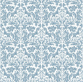 Vector seamless pattern. Fantasy unicorn, tree, flowers, leaves light turquoise blue silhouette with ornaments on a white background. Embroidery template, wallpaper, textile print, wrapping paper