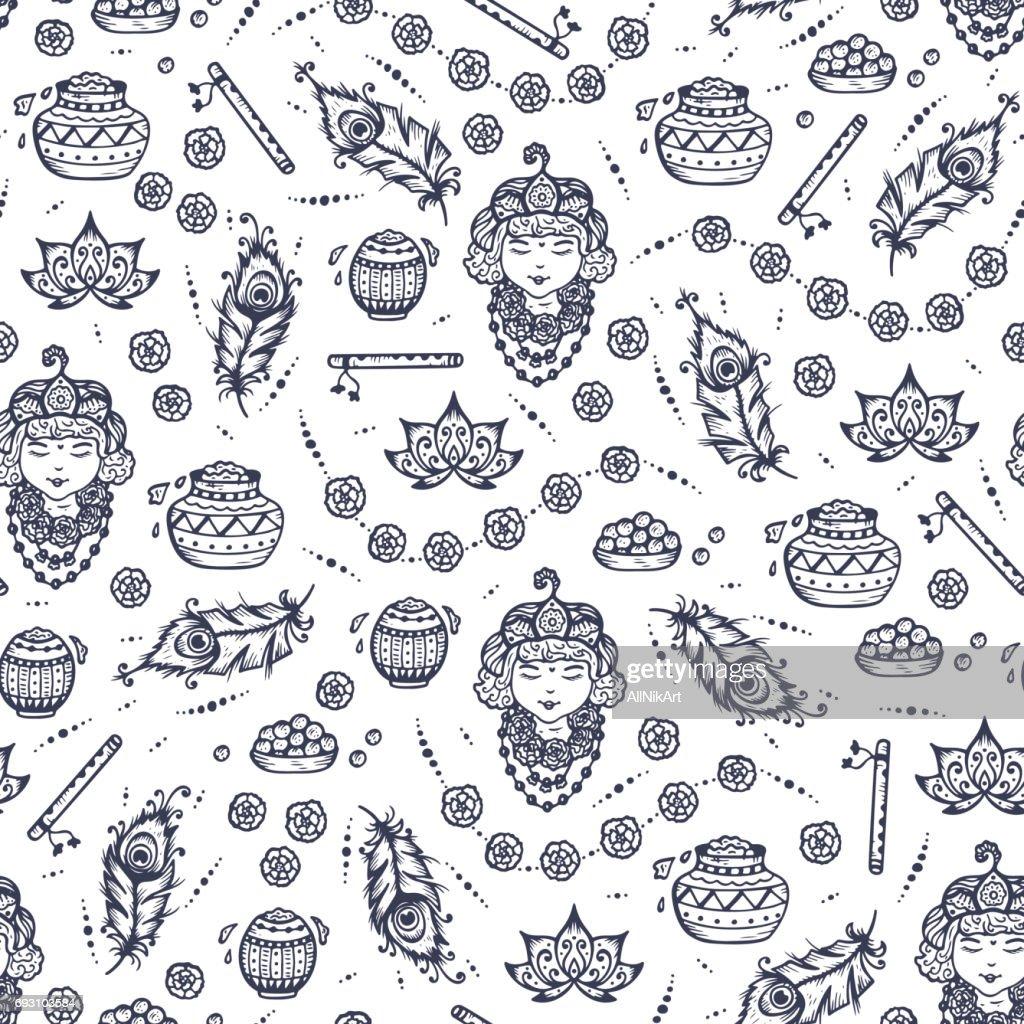 Vector Seamless pattern for Indian fest Shri Krishna Janmashthami. Background with Indian Holiday Symbols: Pots of Yogurt, Baby Krishna portrait, Peacock Feathers, Flute, Flowers