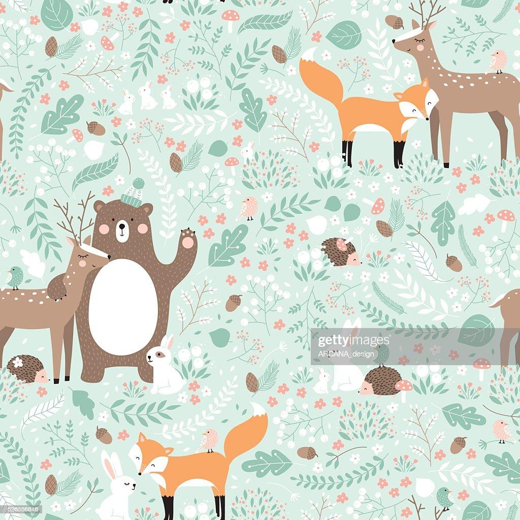 Vector seamless pattern, forest animals illustration.