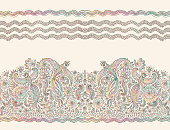 Vector seamless pattern in ethnic style.Exotic flying birds, colorful contour thin line drawing with folk ornaments on a beige background. Embroidery silhouette, wallpaper, textile print, wrapping paper