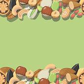 Vector seamless pattern nuts hazelnut, almonds, peanuts, walnut cashew pistachios