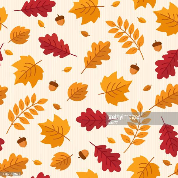 vector seamless pattern of autumn leaves and acorns. - falling stock illustrations