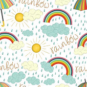 Vector seamless pattern of colorful rainbow.
