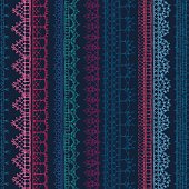 Vector seamless pattern of crochet lacy edges on dark background.