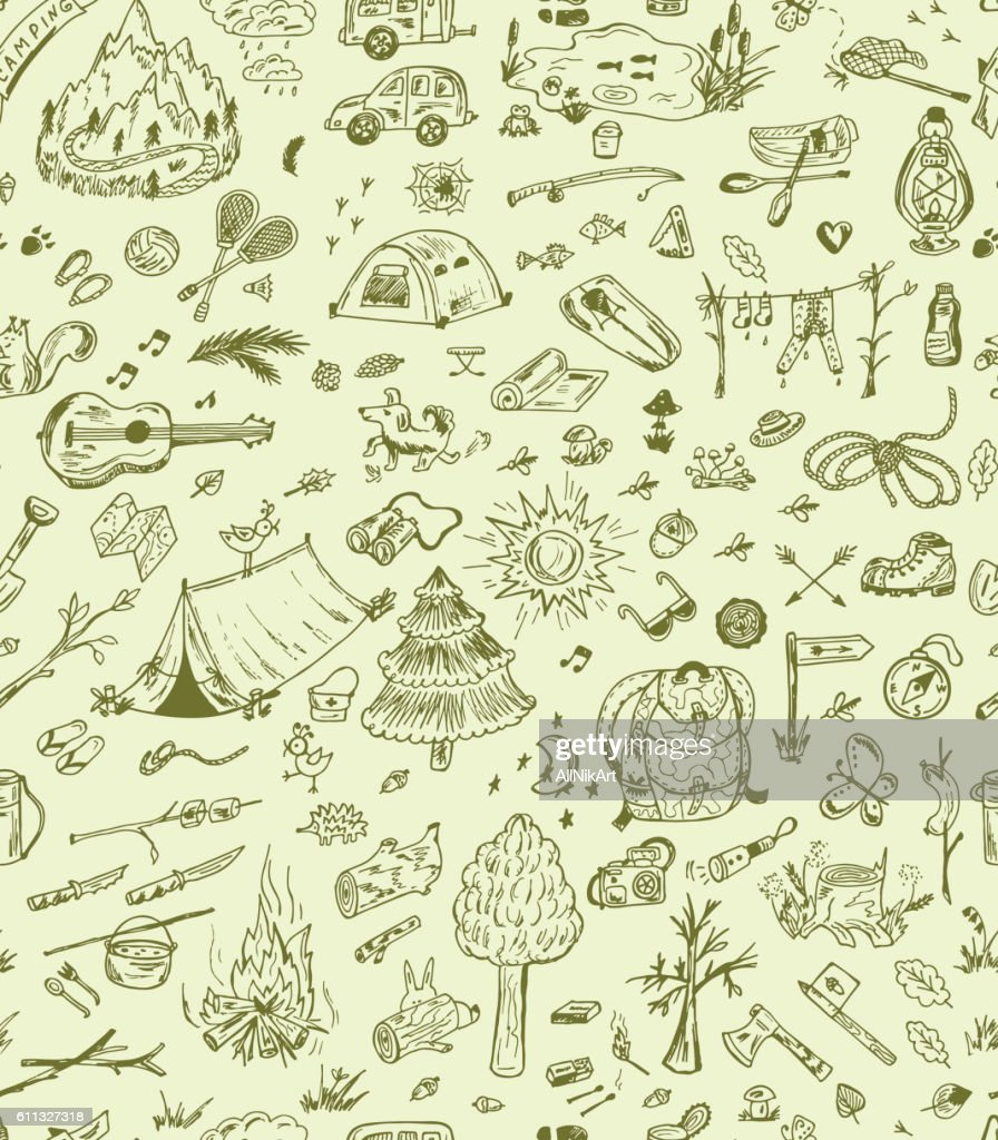 Vector Seamless pattern of Hand Drawn Doodle Camping Elements