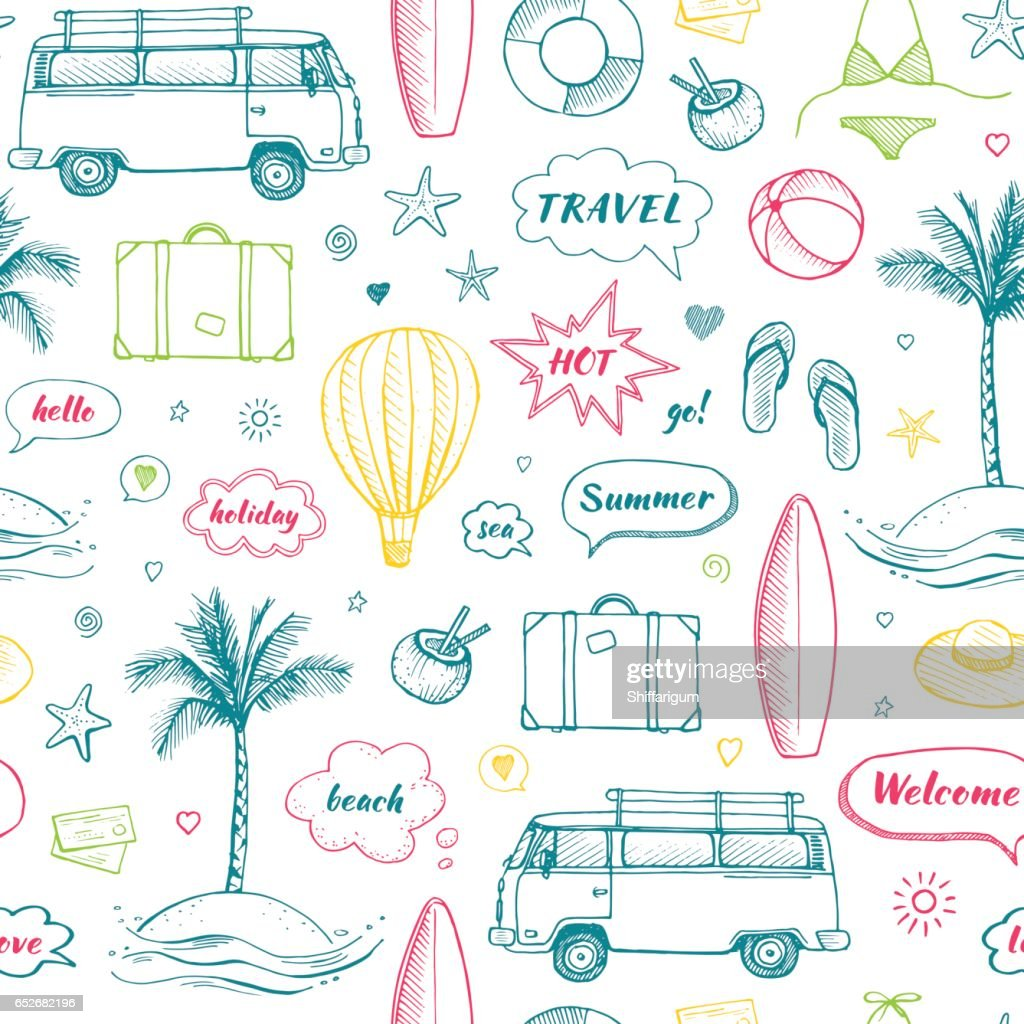 Vector seamless pattern of hand drawn travel doodle