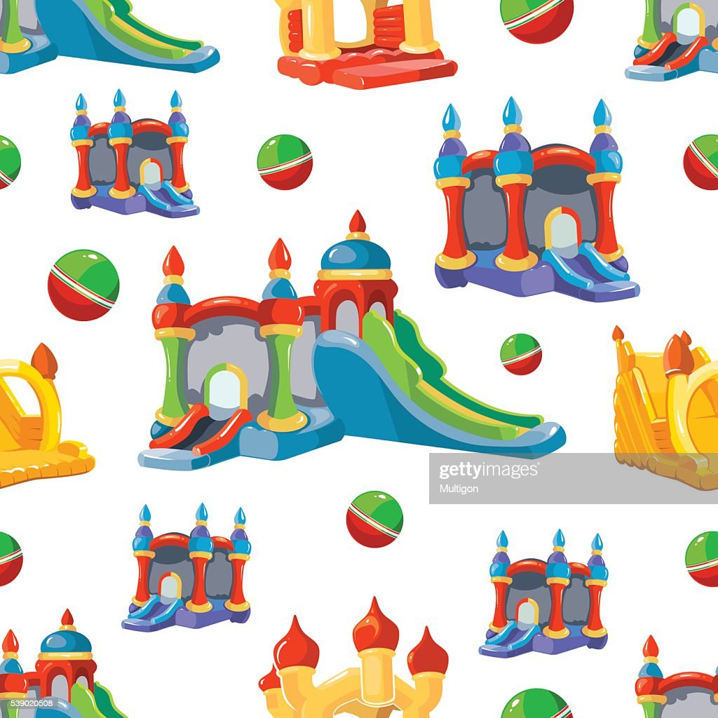 Vector seamless pattern of inflatable castles and children hills