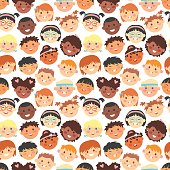 Vector seamless pattern of kids faces different races.