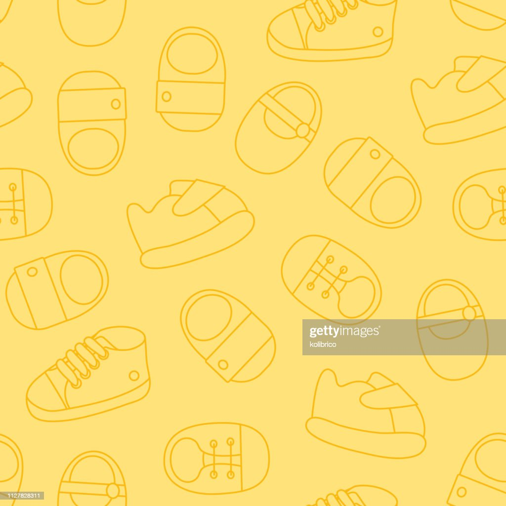 Vector seamless pattern of outline baby shoes. Kids shoes seamle