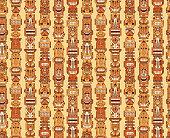 Vector Seamless pattern of Tribal Polynesian Tiki Masks. Hand Drawn Doodle Hawaiian Totem Idol Carved Religious Masks statue. Ethnic symbols background