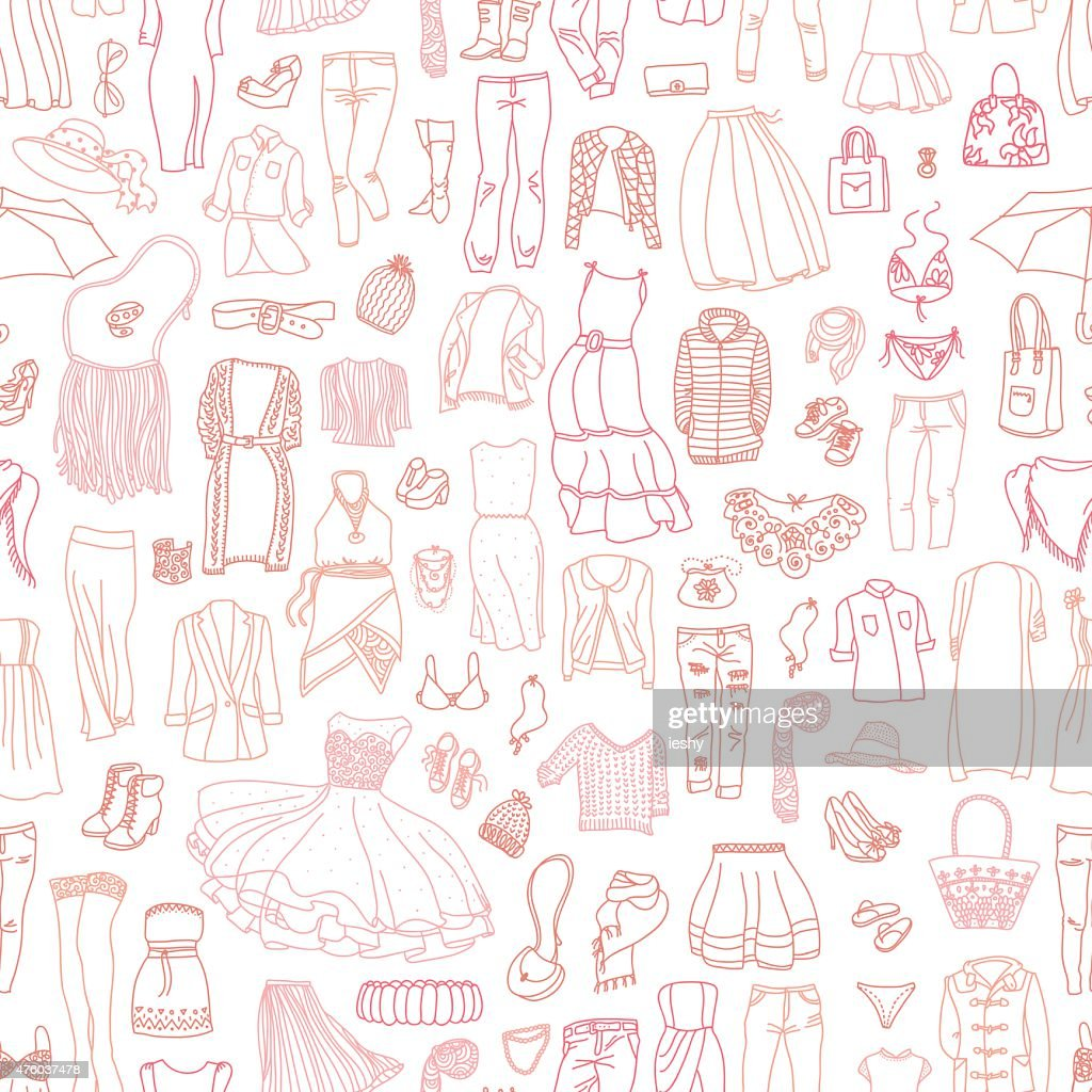 Vector seamless pattern of women's clothes and accessories