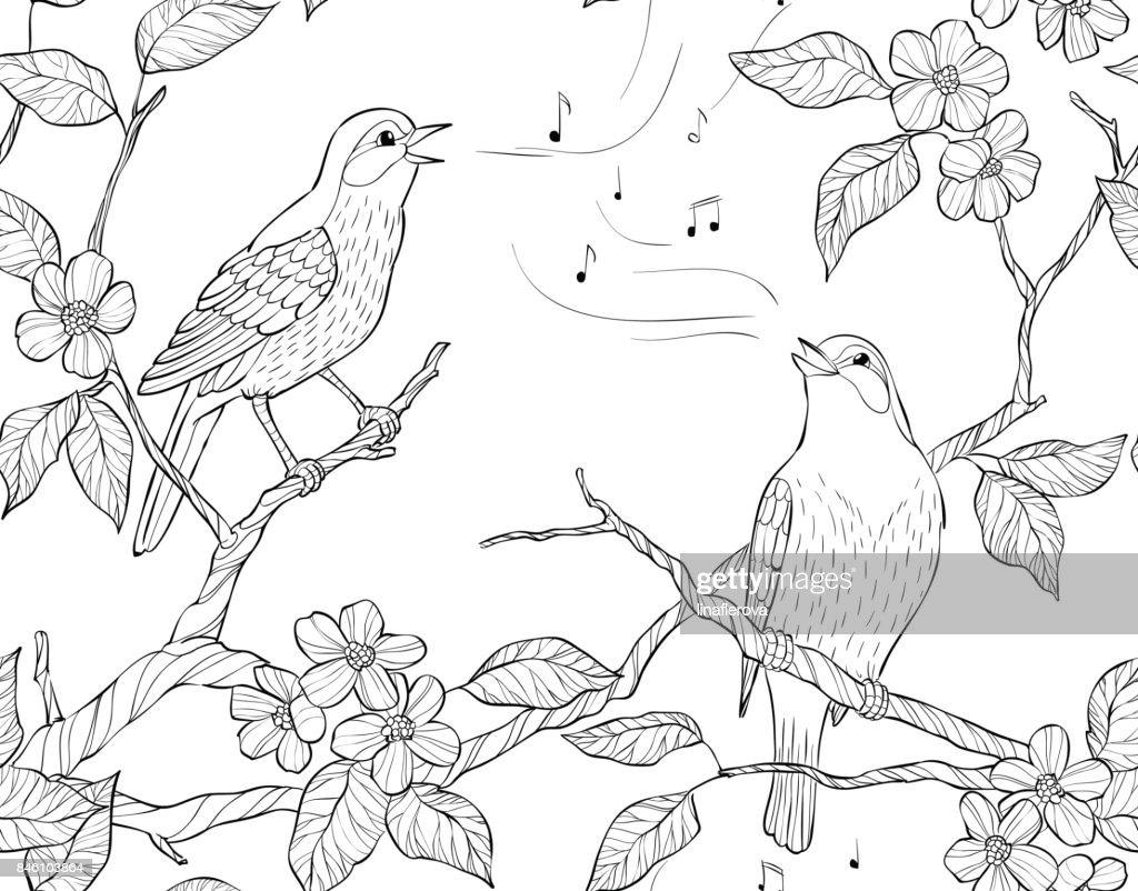 Vector seamless pattern. Spring garden composition. A bird sings on a bloom branch.