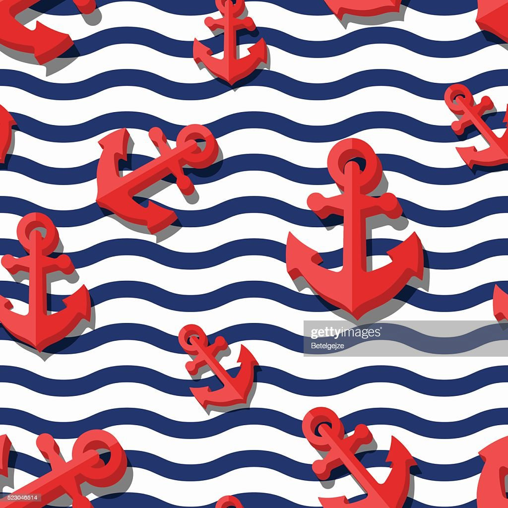 Vector seamless pattern with 3d red anchors and blue stripes.
