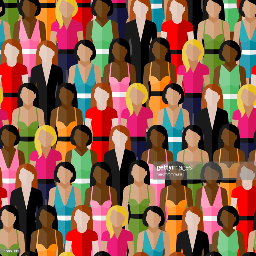 vector seamless pattern with a group of girls and women.