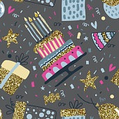Vector seamless pattern with air balloons, fireworks, confetti,birthday cake.
