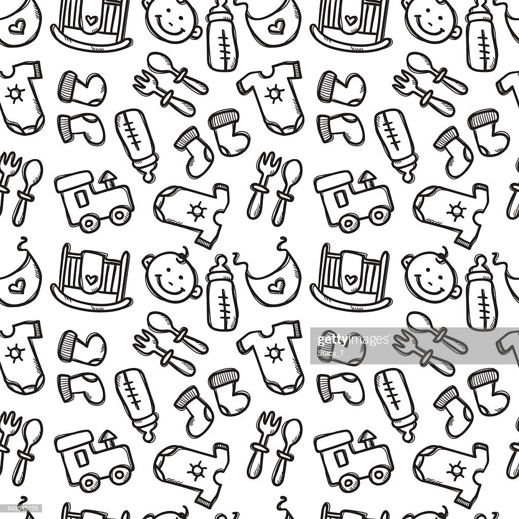 713d7a4aa Vector Seamless Pattern With Baby Objects Newborn Clothes And ...
