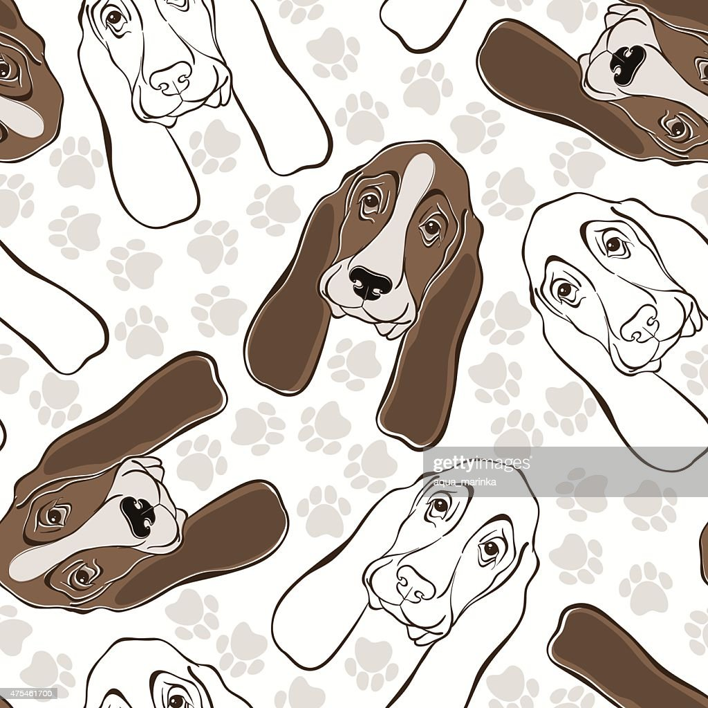Vector seamless pattern with basset hound and traces.