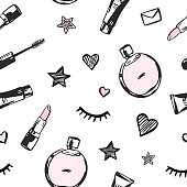 Vector seamless pattern with beauty products