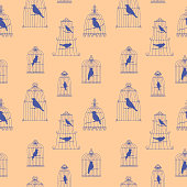 vector seamless pattern with birds in cages