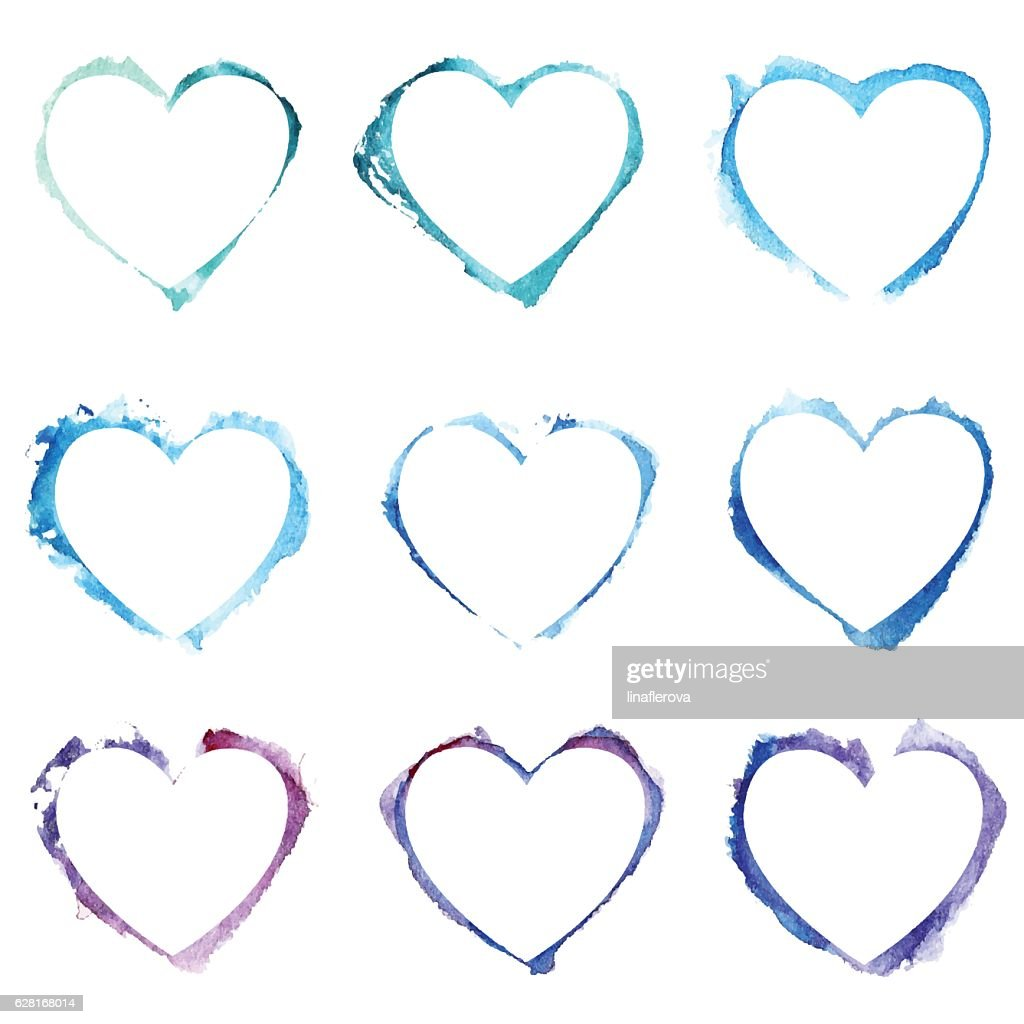 Vector Seamless pattern with blue watercolor hearts.