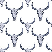 Vector seamless pattern with bull skull.