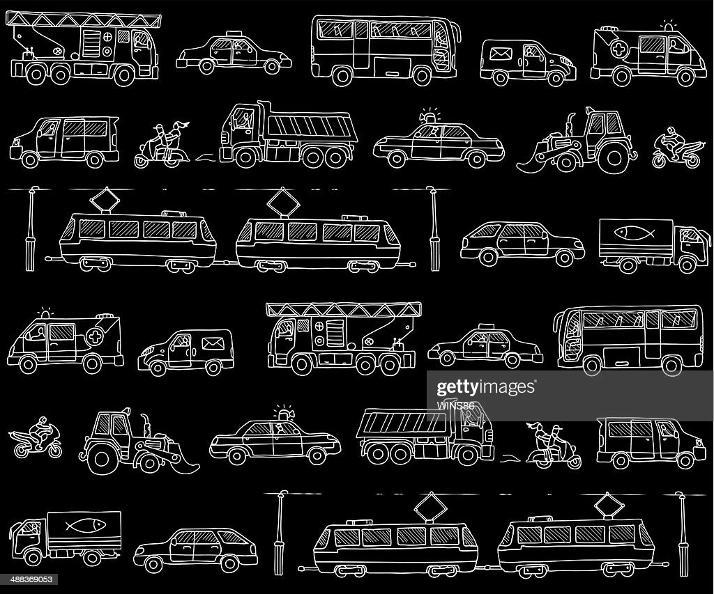 Vector seamless pattern with cars. Traffic.