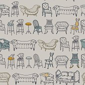 Vector Seamless Pattern with Chairs Doodle.