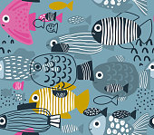 Vector seamless pattern with colorful funny fishes