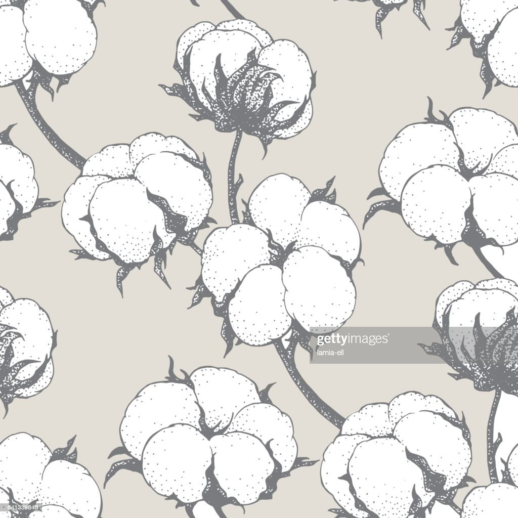 Vector seamless pattern with cotton plants. Branches with flowers background