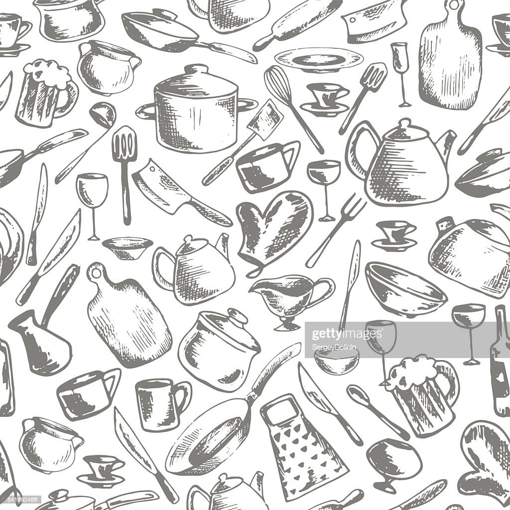 vector seamless pattern with crockery and kitchen utensils
