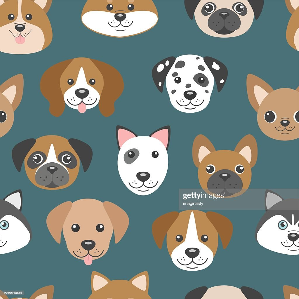 Vector seamless pattern with cute cartoon dog puppies.