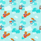 Vector seamless pattern with cute superhero animals