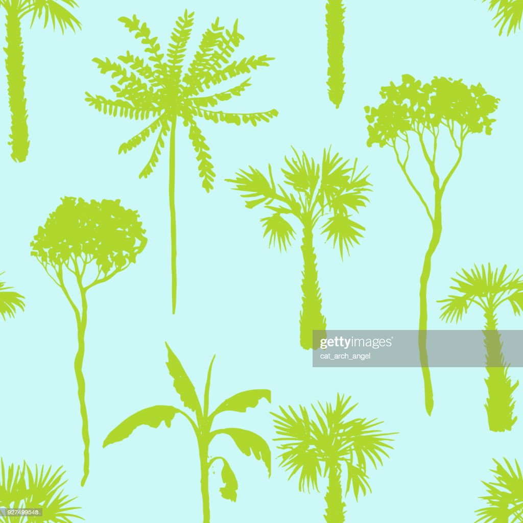 vector seamless pattern with deciduous trees
