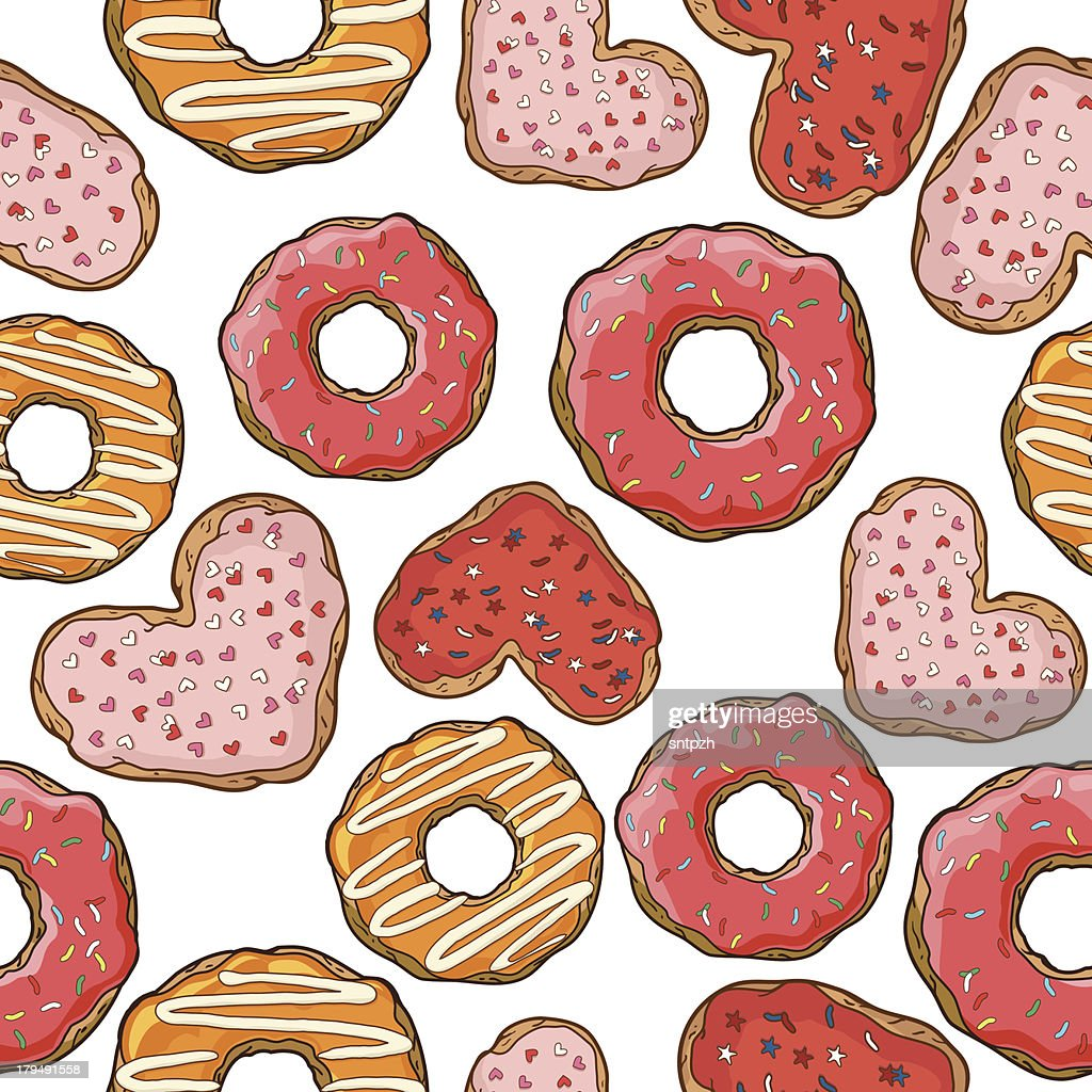 Seamless pattern with donuts and cookies