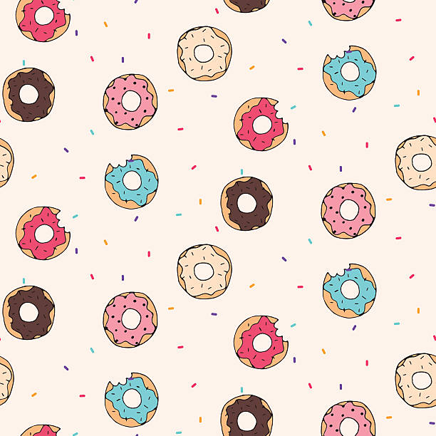 Vector seamless pattern with donuts