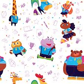 Vector seamless pattern with doodle school elements, animal students - lady cat, hippo, owl, rooster, bear, giraffe and squirrel isolated on white background.