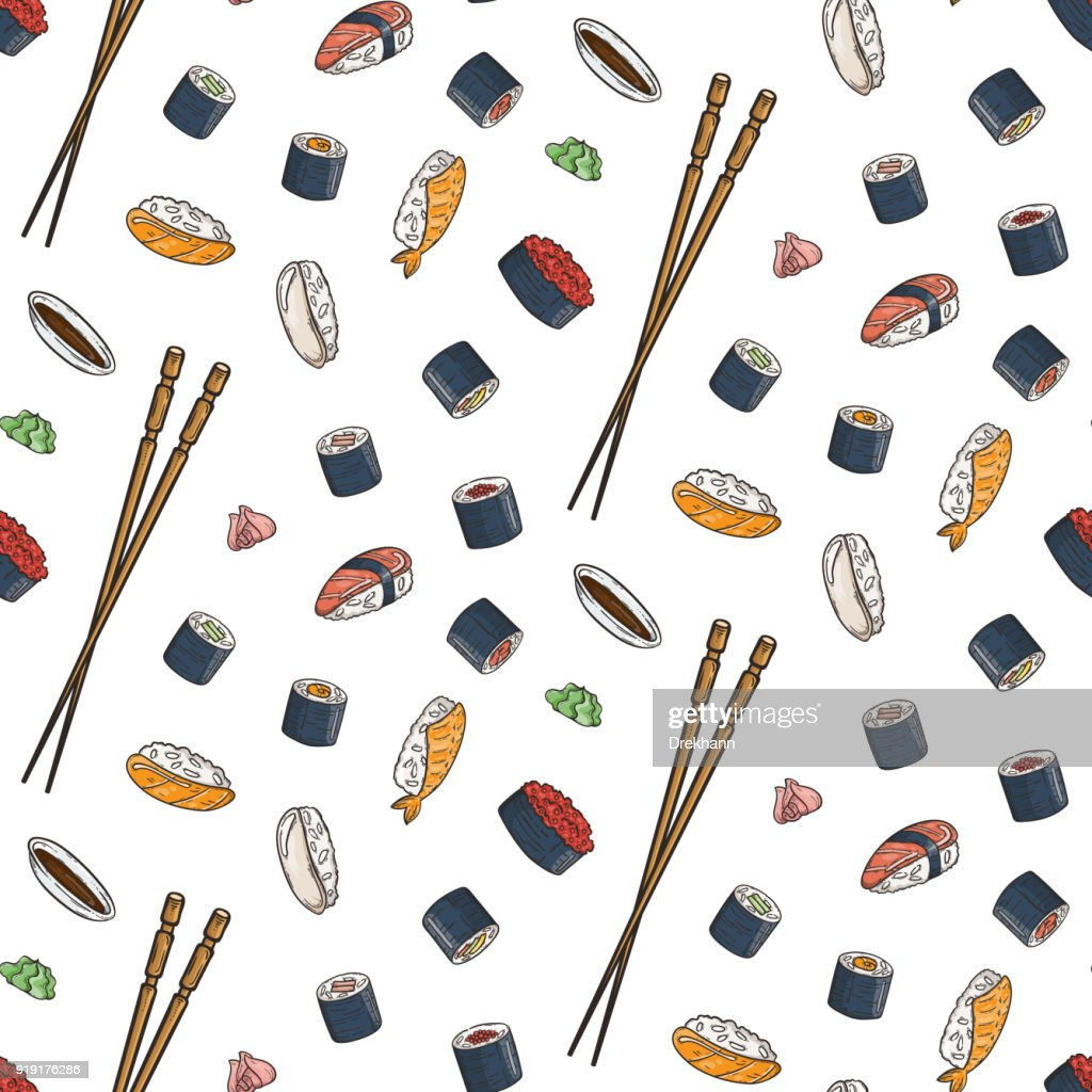 Vector seamless pattern with doodle sushi. Engrave asian food.
