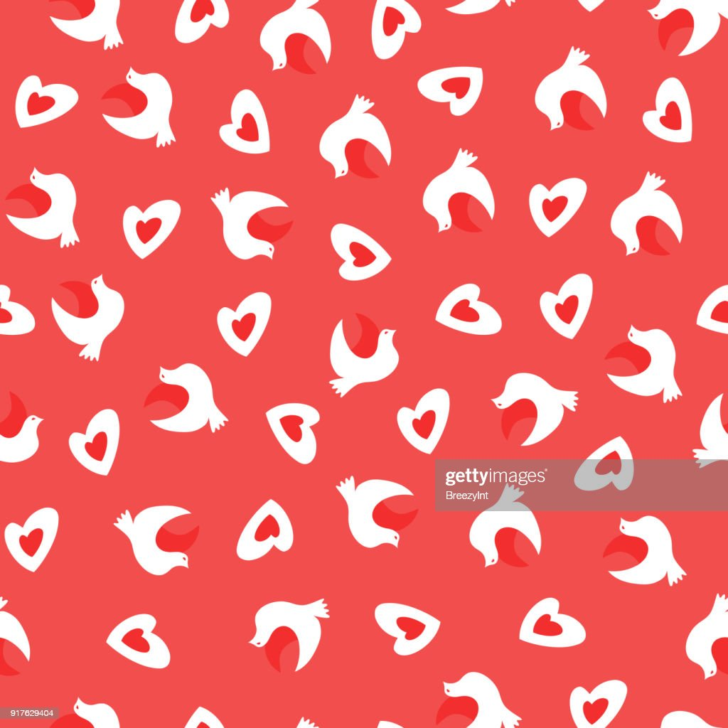 Vector Seamless Pattern with Doves and Heats