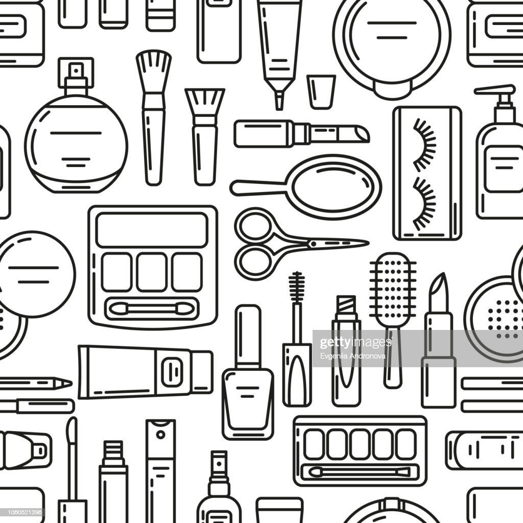 Vector seamless pattern with flat line cosmetics icons on white background. Pattern on the theme of beauty and make up. Vector illustration.