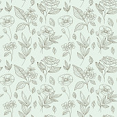 Vector seamless pattern with flowers and leaves in linear style - packaging background or wrapping paper for natural cosmetics