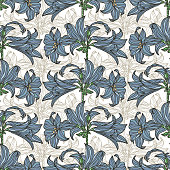 Vector seamless pattern with flowers.