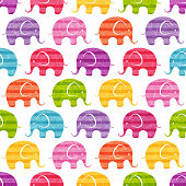 Vector seamless pattern with funny  elephants